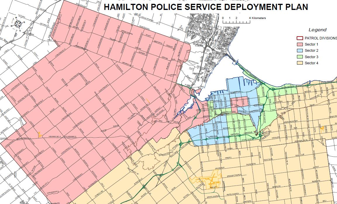 City of Hamilton Patrol Divisions